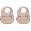 Tilda silicone bib 2-pack cat rose